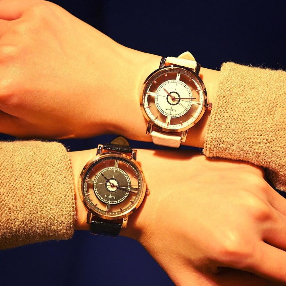 2017 Round Triangle Quartz Watch Vintage Women/Men Fashion Leather Strap Lover Couple Watches Clock Wristwatch Relogio Masculino