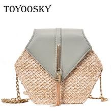 TOYOOSKY Simple Hexagon Chains Weaving Straw Bags Women Shoulder Tassel Messenger Bag 2019 Patchwork Handbags Female Chic