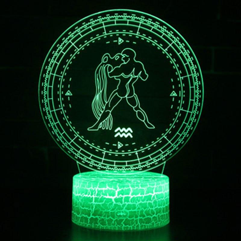 Aquarius theme 3D Lamp LED night light 7 Color Change Touch Mood Lamp Christmas present Dropshippping rockspace eb30
