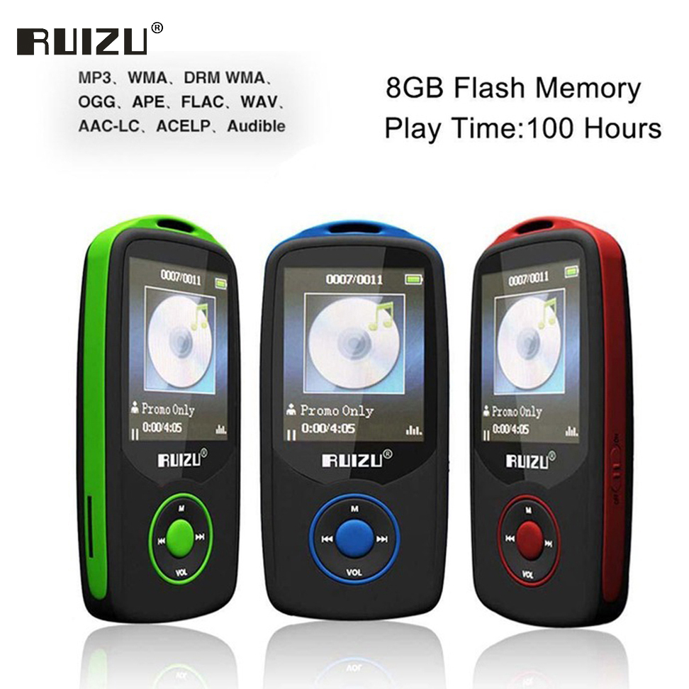цена Ruizu X06 Lossless Flac Portable Hifi Digital Sport Audio Screen Mp 3 Music Mp3 Player Bluetooth With Headphone 8GB Radio FM TF