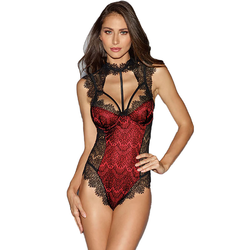 Sexy Eyelash Lace Teddies Women Meshed Sheer Strap Harness Bodysuit Open Back Halter Lingerie Erotic Top For Ladies 3 Colors