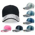 2017 Fashion Female's Baseball Caps Manual Shining Diamond Drill Denim Hats Casual Simple All-match Style 8 Colors Caps SY327