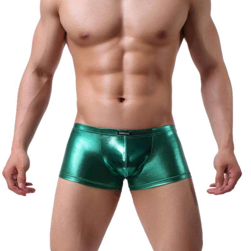 2d9132c2c Men s Shiny Faux Leather Underwear Boxer Shorts Trunks Sexy Wet Look  Underpants Males Low Waist Bulge