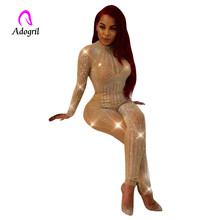 Adogirl perspective sequin long sleeve jumpsuits khaki women one piece outfits drilled bodycon rompers party overalls
