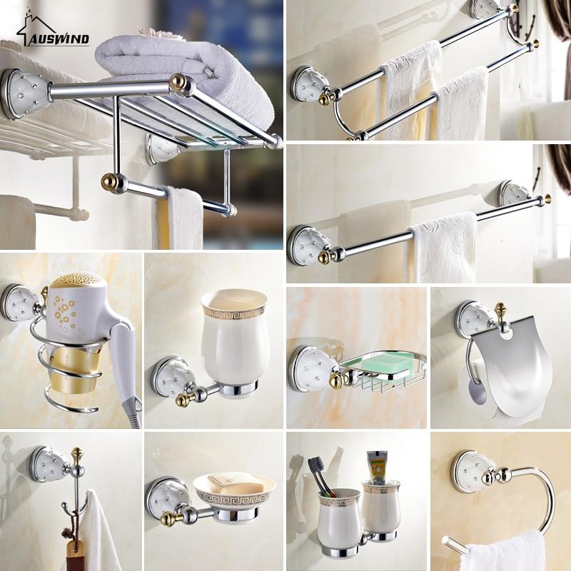 auswind contemporary brass silver bathroom haderware sets