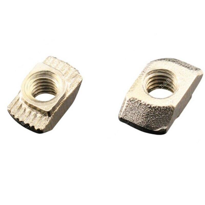 50pcs 20x20 M3/M5 EU Aluminum Profile T-Slot Shape Interior Sliding Nut Block Silver