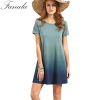 FANALA T Shirt Dress 2017 Women Casual Loose Dress O Neck Short Sleeve Tie Dye Ombre