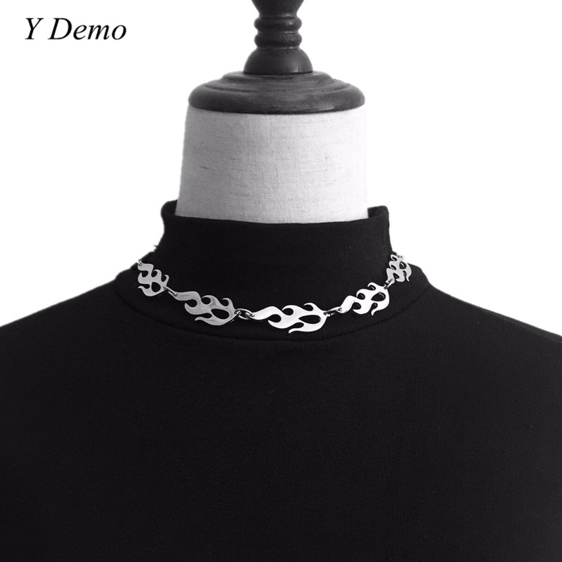 Harajuku streetwear Flame Unisex Necklace Punk Accessory Rock Chain Choker Necklaces
