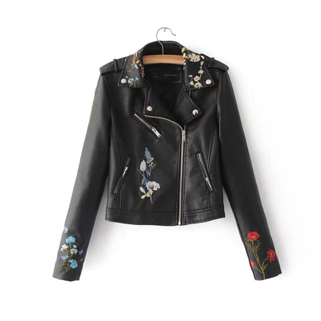 5 Colors 2018 Women Candy Color Pu   Leather   Jacket Fashion Turn Down Collar Rivet Zipper Embroidery Jacket Outerwear