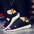 man's Summer Slip-On Slipper Casual Beach shoes Gladiator Sandals men Flat Shoes Stretch Fabric soft slides sandalias XK122709