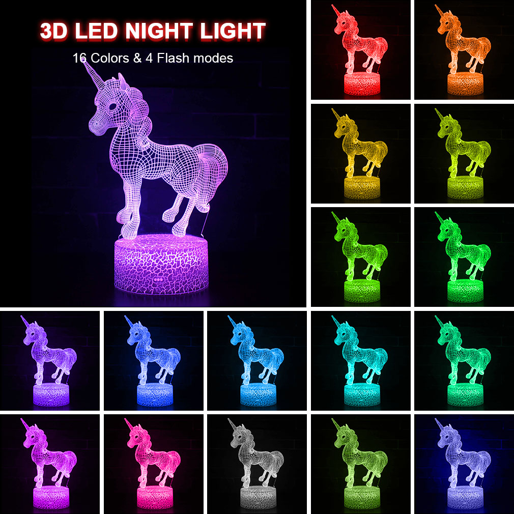 Unicorn 3D LED Night Light 3D Illusion Table Lamp Remote Smart 16 Colors Decoration Luminaria Lampara Girls Kids Xmas Party Gift