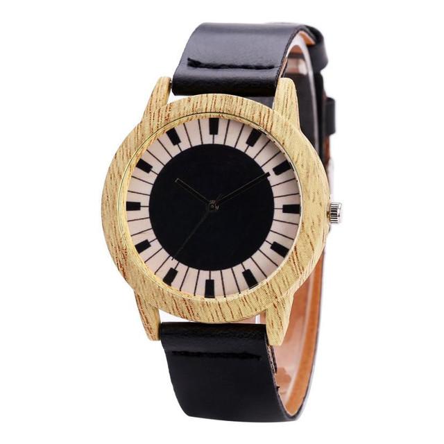 FanTeeDa Top Fashion Piano button Printing Pattern Alloy dial women watches Round Retro leather ladies wristwatch relogio 30Q