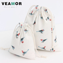 3pcs/set Cotton Canvas Drawstring Gift Bags for Girls Peacock Bird Printed Wedding Favor Small Candy Gift Srorage Bags B201(China (Mainland))