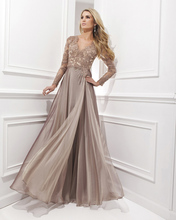 Vestido De Festa Longo Chiffon 2014 Sexy Long Evening Dress Lace Sleeve Gown Robe Soiree Elegant