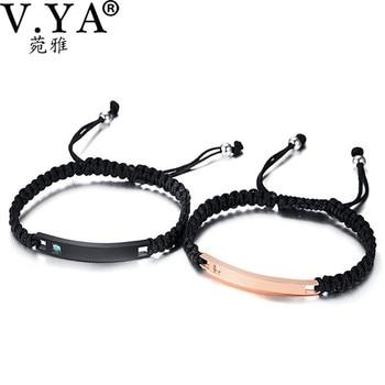 0b2fbde6bebc V. YA chapado pulseras de diamantes de imitación ajustables de acero  inoxidable negro brazaletes grabados para pareja mujeres hombres accesorios  de joyería