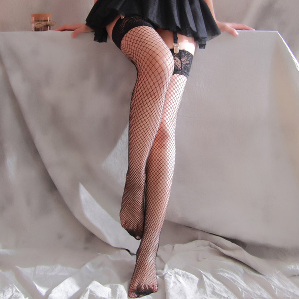 Hollow Out Sexy Fishnet Stockings Tights Women Tie Up Over Knee Mesh Lace Sheer Stocking Club Party Black White Harajuku image