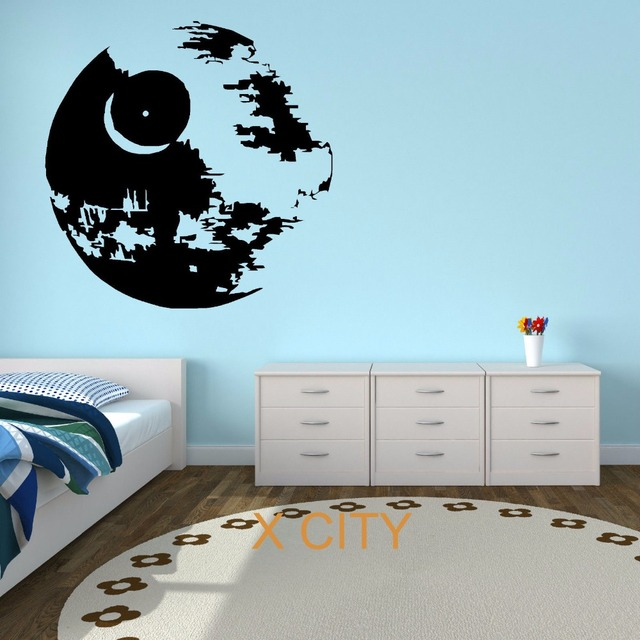 Star wars death star film vinyle mur art autocollant for Autocollant mural star wars