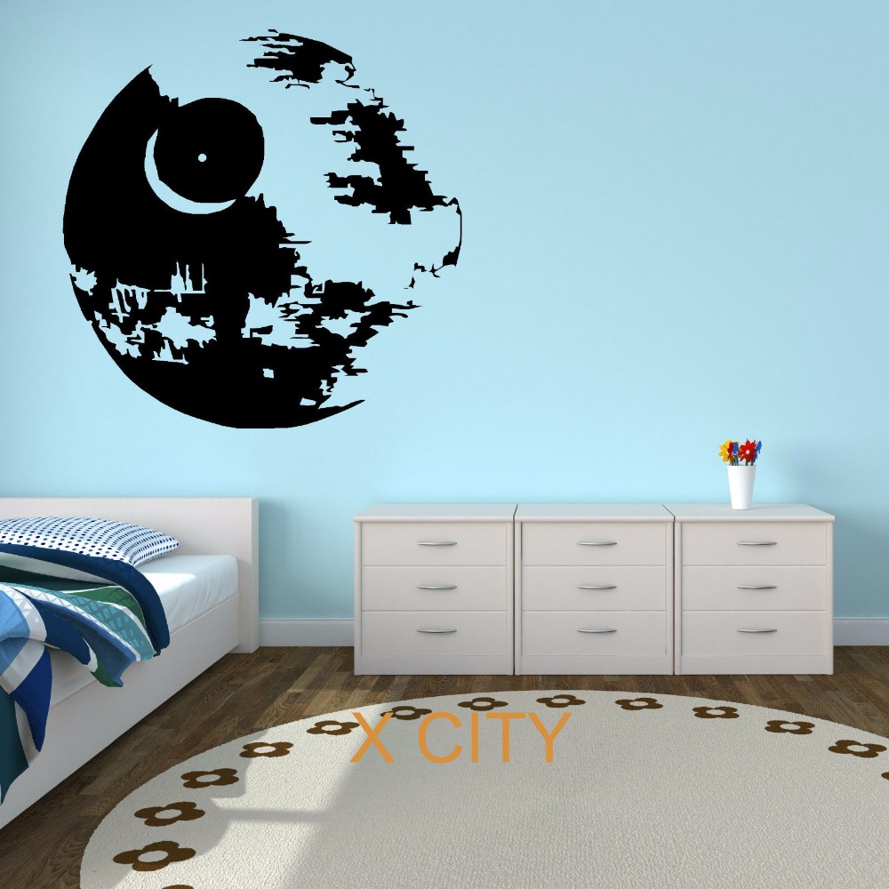 Star wars death star movie vinyl wall art sticker decal children room door window stencils mural - Pochoir star wars ...
