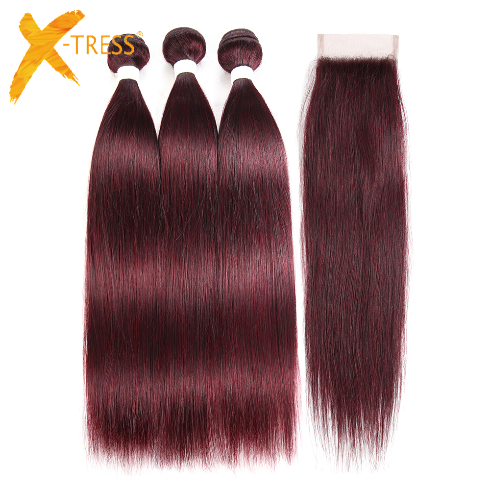 X-TRESS Brazilian Straight Human Hair Bundles With 4x4 Lace Closure Middle/Free Part Non-remy Hair Weaves 99J# Medium Brown Lace