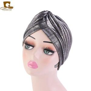 Image 5 - New fashion metallic ruffle turban Headwrap women headwear muslim hat Headwear Turbante Hijab Hair Accessories