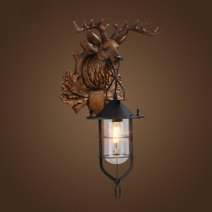 Suspension luminaire Loft Vintage Industrial American Country Iron Antler Wall Lamp Glass Lampshade Deer Wall Light Fixtures