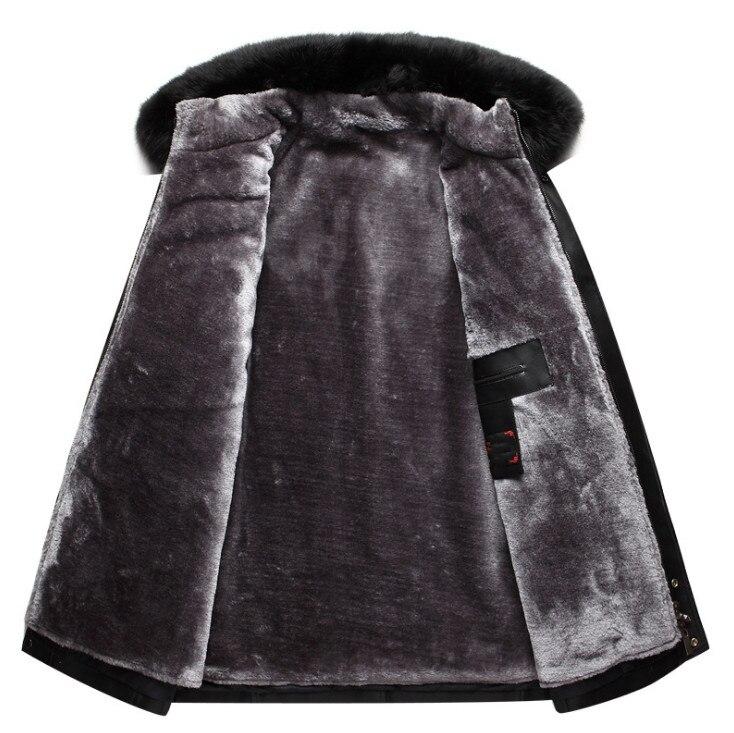 DQIYU russie hiver veste en cuir hommes nouveau col en fourrure véritable veste en cuir épaissir Long hommes coupe-vent veste décontracté mâle manteau - 3