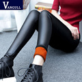 S-3XL 2016 Fashion Thicken Women Leather Pants Winter Warm High Waist Stretch PU Pencil Pants Black Trousers Female Plus Size