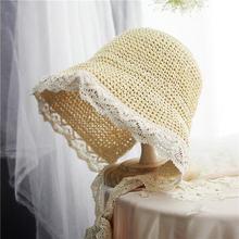 La MaxPa  hecho a mano de papel de tejido sombreros de Sol para las mujeres  playa al aire libre cinta de encaje ala grande lind. 6a153b25d8f