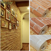 beibehang papel de parede. Vintage wall paper pvc 3d modern wallpaper roll background wall wallpaper red brick for living room