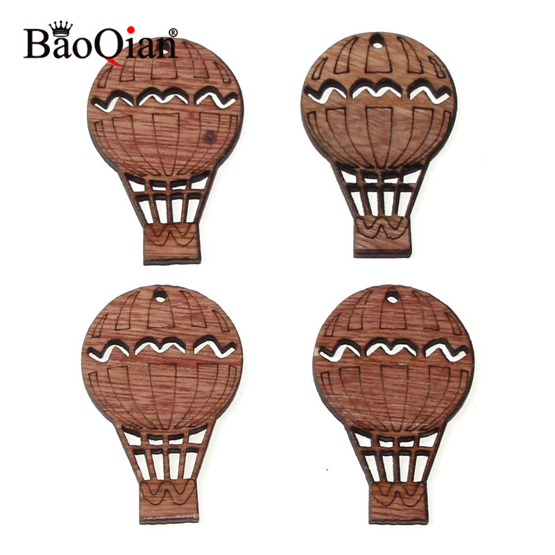 10Pcs Hot Air Balloon Wooden Collection Collection Hanging Wood Craft DIY Scrapbooking Accessory Handmade Home Decoration