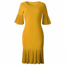 2019 Summer Yellow Red Pleated Details Flare Sleeve Autumn Fashion Women Dress Draped Office Ladies Casual O Neck Midi Dresses