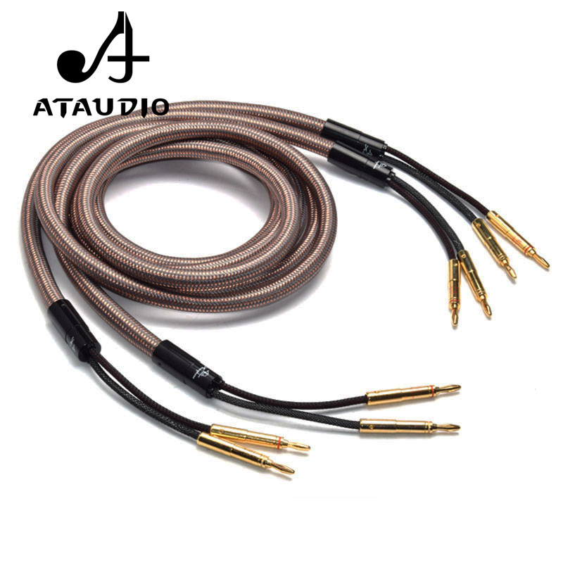 ATAUDIO Hifi Speaker Cable Accuphase OCC Pure Copper Audio Speaker Wire with Gold plated Banana Plug