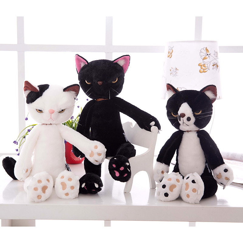 New arrival 40-55cm Large Size black white cat plush toy cat doll soft pillow toy Kids birthday present Christmas simulation cat large 24x24 cm simulation white cat with yellow head cat model lifelike big head squatting cat model decoration t187