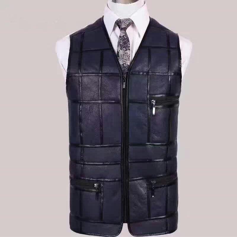 New Men's Sheepskin Vest, Short Cut Sheep, Scissors Shoulders, Middle-aged And Elderly Fur Coat Vest.