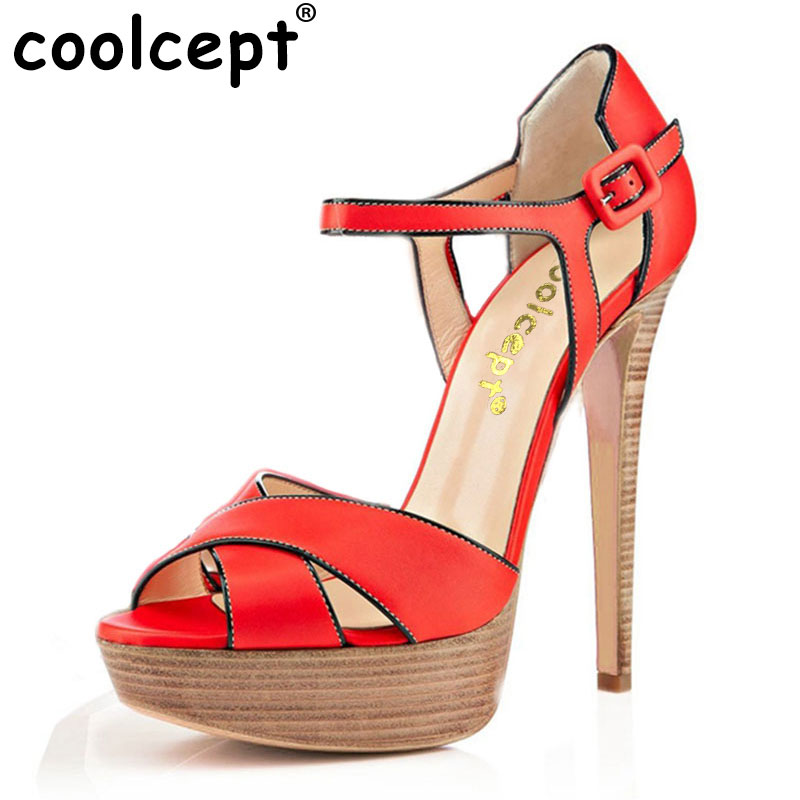 Coolcept Women Peep Toe High Heel Sandals Ankle Strap Party Shoes Woman Ladies Platform Vintage Shoes Footwear Size 35-46 B030 цены онлайн
