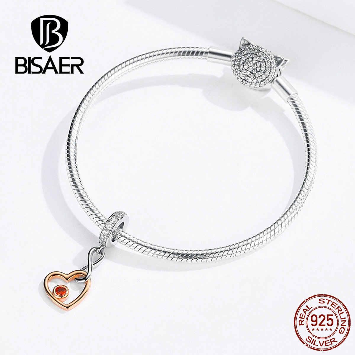 BISAER 100% 925 Sterling Silver Infinity ลูกปัดหัวใจรัก Charms พอดี Charm สร้อยข้อมือเงิน 925 เครื่องประดับ ECC1239