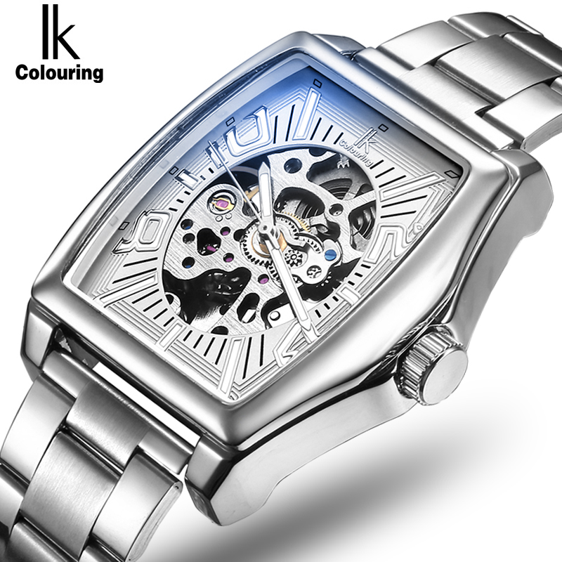 2017 IK Watch Men's Orologio Uomo Skeleton Square Dial Watches Auto Mechanical Wristwatch with Orignial Box Free Ship ik colouring men s orologio uomo allochroic glass skeleton auto mechanical watch wristwatches gift box free ship