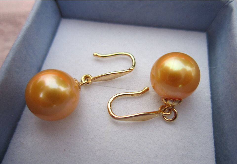 Genuine Australian 8.5-9mm south seas golden pearl earrings 14 Gold r