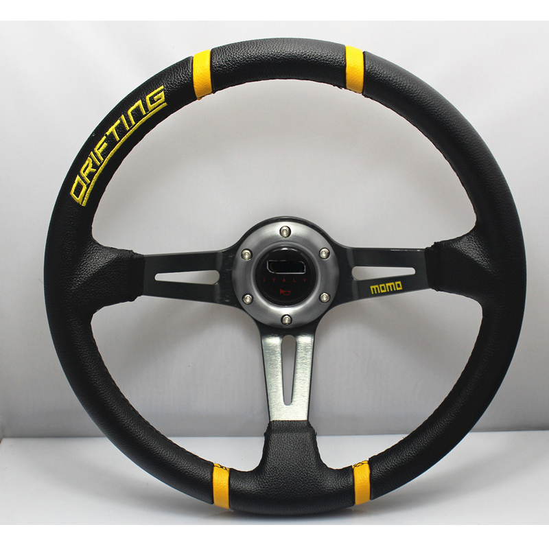 Hot Sell 340mm/13.4 Deep Dished Sport Racing Leather Alloy Steering Wheel DRIFTING