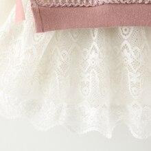 Kids dress for girls long sleeve fake 2pc knitted dresses