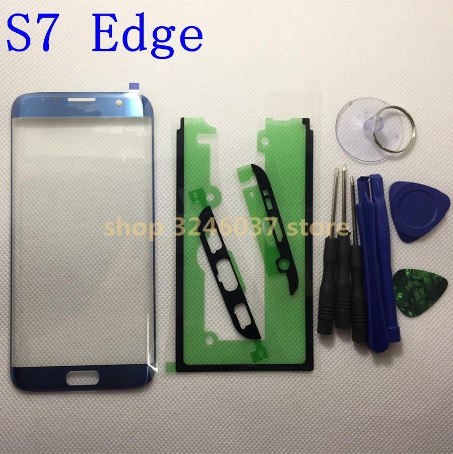 Remplacement Verre Externe Pour samsung galaxy s7 Bord G935 G935F LCD Tactile Écran Avant En Verre Extra-Lens + Adhésif outils
