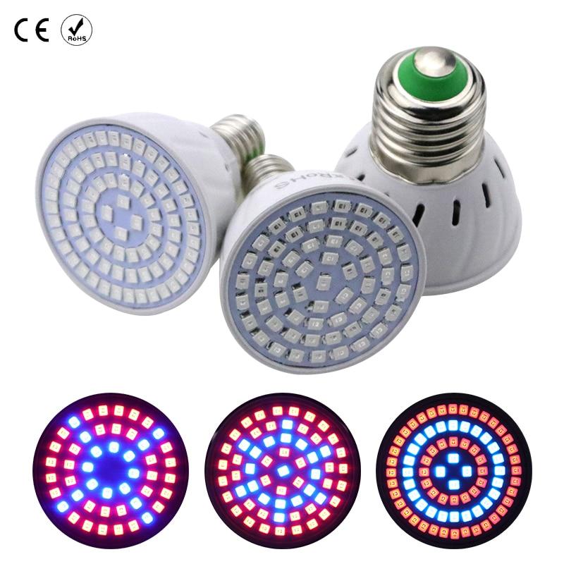 E27 LED Plant Grow Light GU10 FUll Spectrum Greenbox Flower Lamp 220V MR16 48 60 80leds B22 Bulbs for Indoor Growth Fruits E14