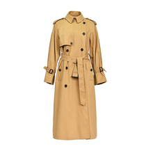 Shuchan Cotton 2019 Autumn Long Coat Women Windbreaker Womens Trench Coats  Double Breasted Streetwear Wide-waisted Fall 2039