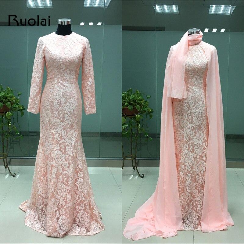Real Photo Elegant Dubai Muslim Aftonklänningar Lång Ärmar Lace Mermaid Prom Dress 2016 Rosa Festklänningar FE42