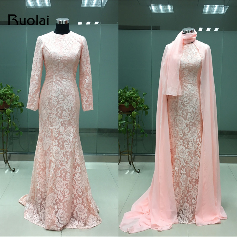 Real Photo Elegant Dubai Muslim   Evening     Dresses   Long Sleeves Lace Mermaid Prom   Dress   2016 Pink Formal Party   Dresses   FE42