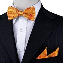 Floral Yellow Gold Orange Red Tuxedo Pre-tied Mens Bow Tie 100% Silk  Handkerchief db70b1f38bb1