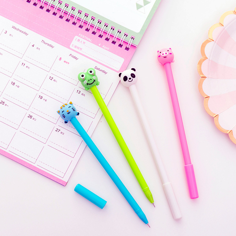 Image 4 - 40 pcs Cute inflatable animal neutral pen 0.5 black student neutral pen-in Gel Pens from Office & School Supplies