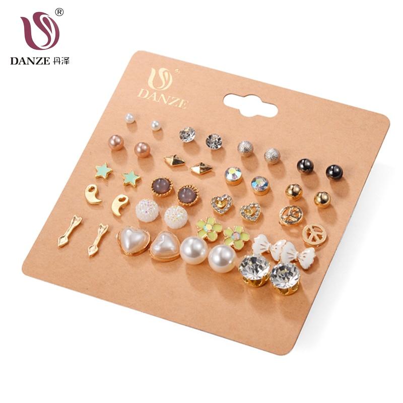 DANZE אופנה 20 זוגות / זוגות מעגלי קריסטל מדומה עגילי פנינה סט עבור נשים זהב צלב בול עגילים תכשיטים