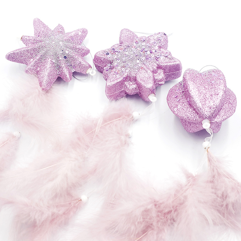 Creative Pink Feather Snowflake Christmas Ornament Christmas Tree Decoration Pendant Xmas Wedding Party 2020 Decor For Home