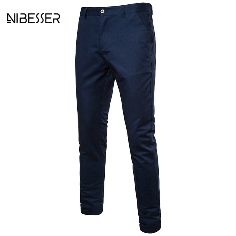NIBESSER Brand Plus Size Solid Pants Men Casual Straight Pants Mens Business Social Fashion Cargo Pants Trousers Clothing Spring